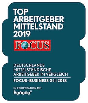 Siegel zum Top Arbeitgeber Mittelstand 2019 von Fokus in Kooperation mit kununu
